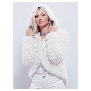 Free People Once Upon a Hood Fluff Coat - Ivory